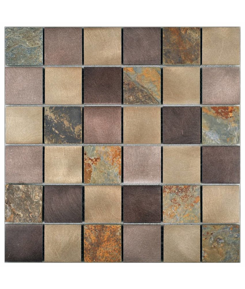 Mosaik Alu & Schiefer Dark Grey Beige Mix 30 cm x 30 cm