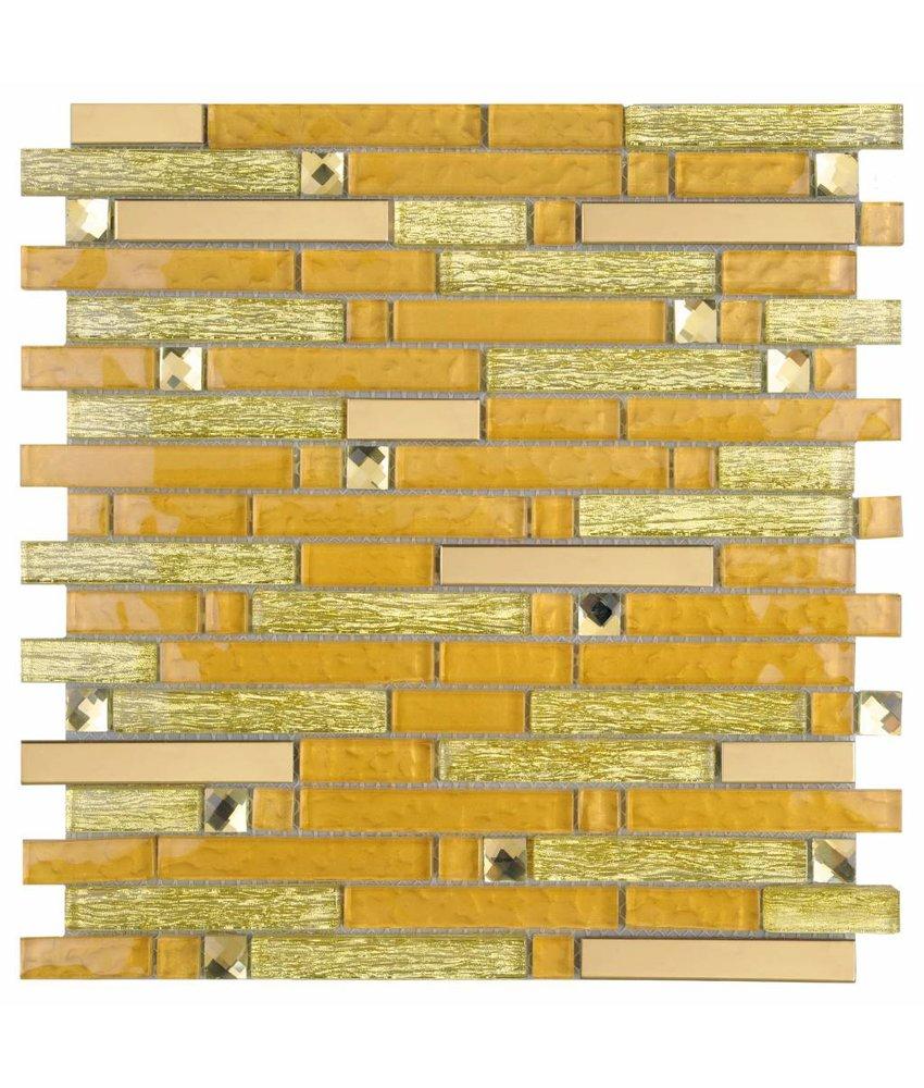 Mosaik Glas & Metall Crystal Gold Brick 30 cm x 30 cm