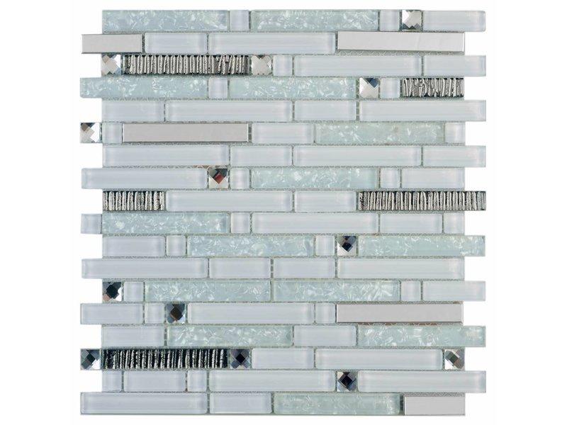 Mosaik Glas & Metall Crystal Silver Brick 30 cm x 30 cm - Mosaic Outlet