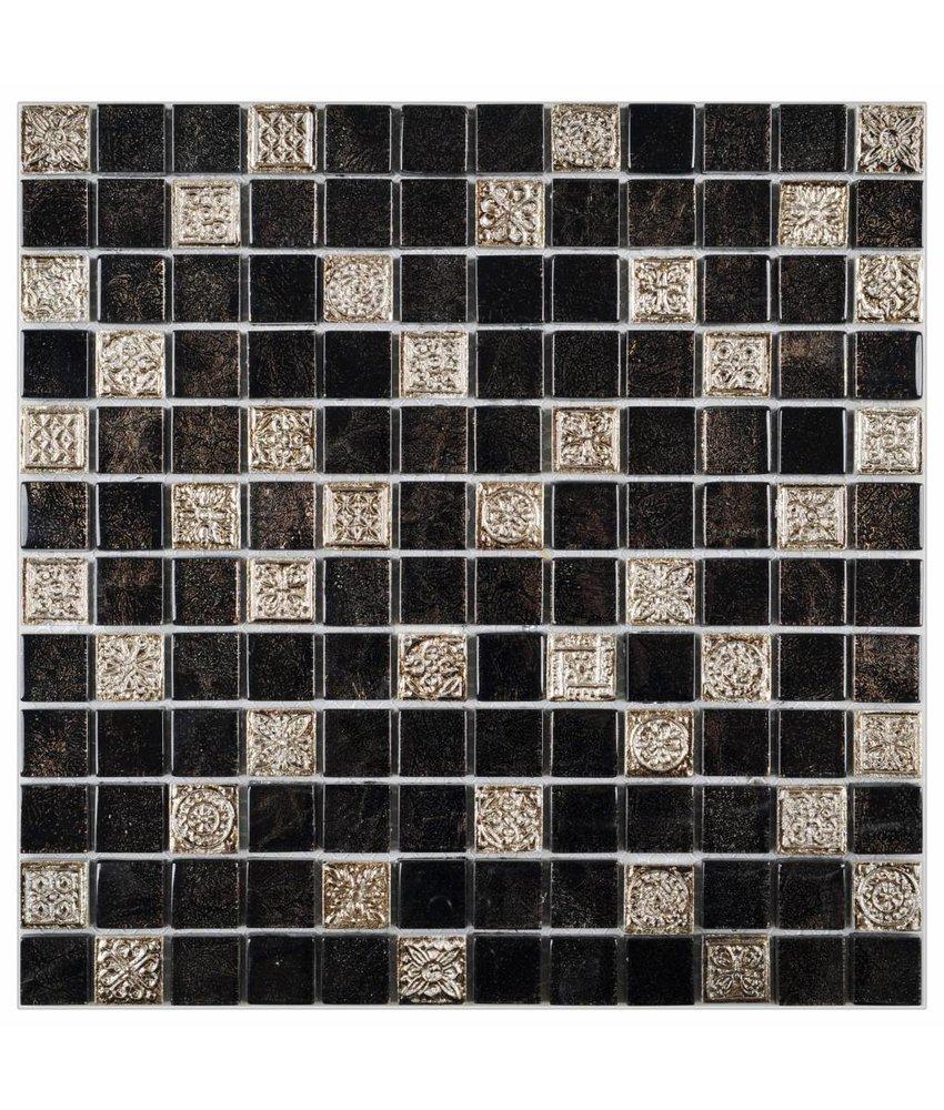 Mosaik Glas & Naturstein Inka Black Relief 30 cm x 30 cm