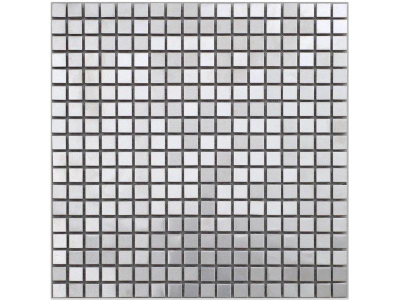Mosaik Metall Edelstahl, quadratisch - 30 cm x 30 cm - Mosaic Outlet