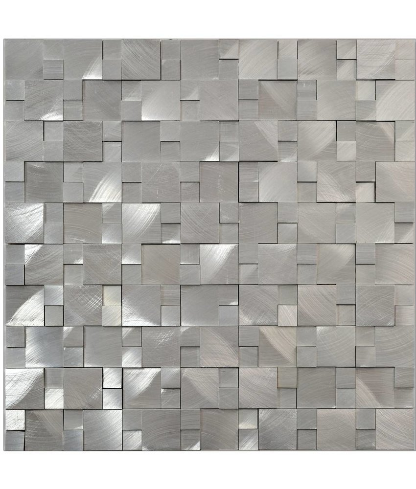 Mosaik Metall Alu 3D Silver 30 cm x 31,5 cm
