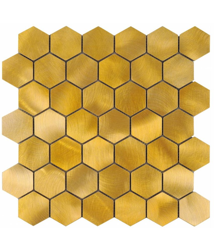 Mosaik Metall Alu Gold Hexagon - 30 cm x 30 cm