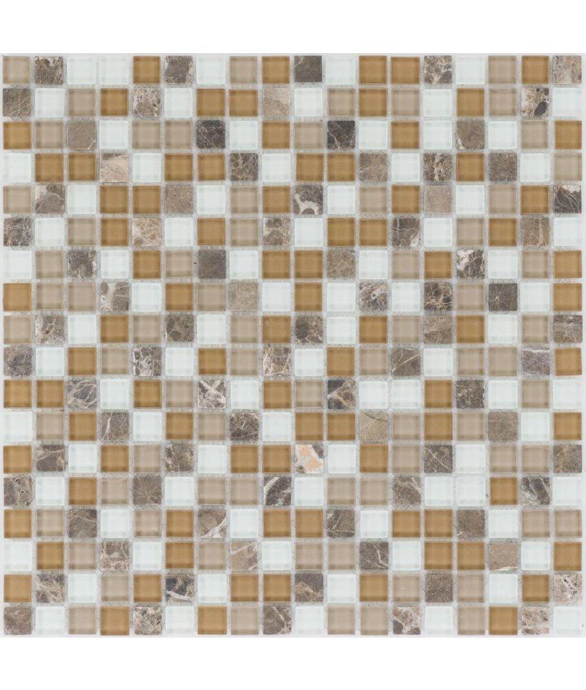 Mosaik Glas & Marmor Braun Beige Weiß - 30 cm x 30 cm