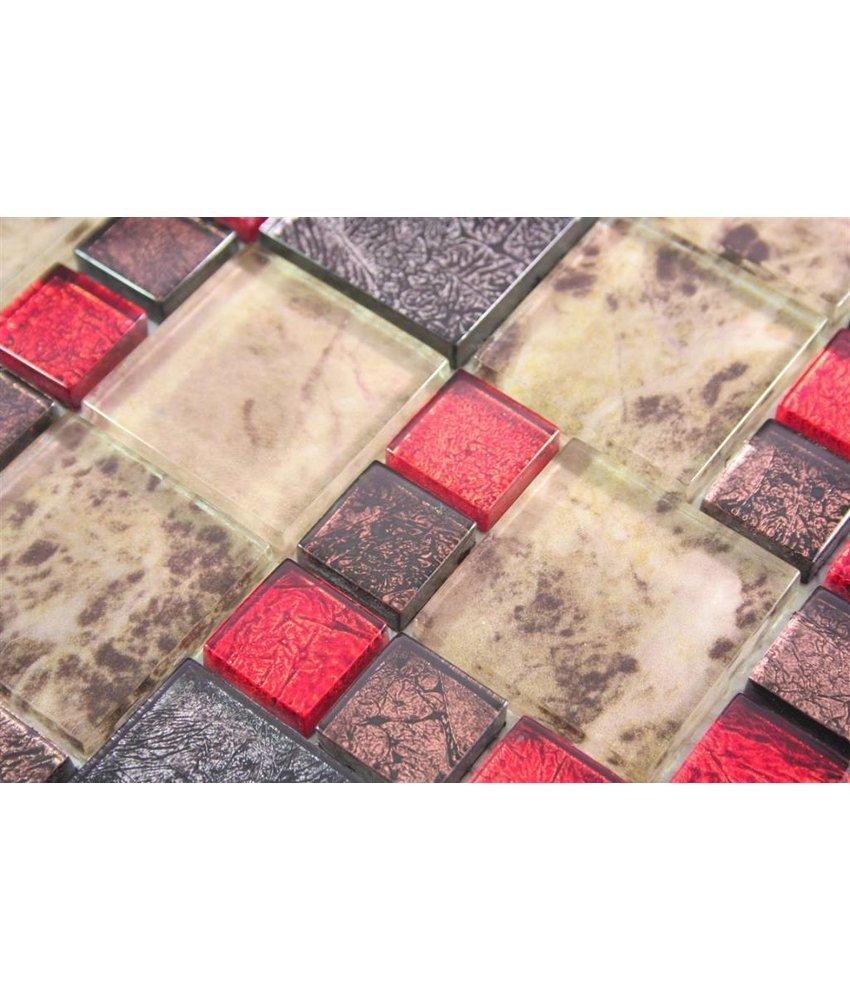 GLASMOSAIK FLIESEN - Moorland - grau / braun / beige / rot / perlmutt