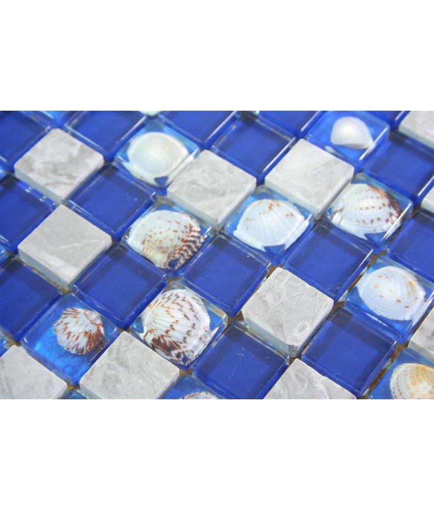 MUSCHEL MOSAIKFLIESEN - Nordkapp - blau / grau / beige