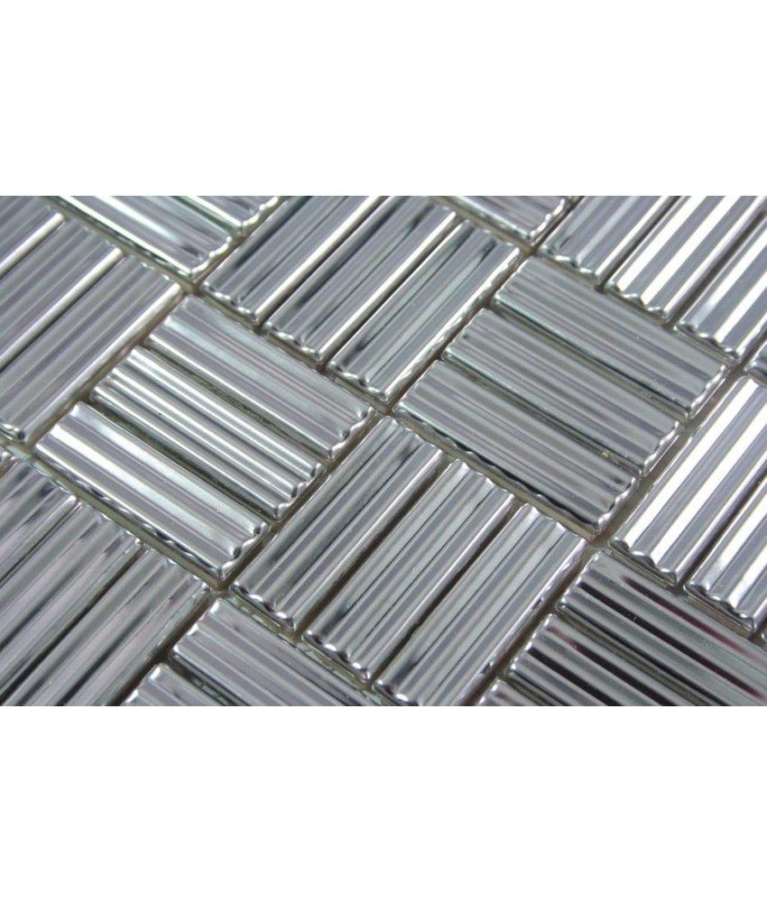 Metall mosaikfliesen aus edelstahl oder aluminium mosaic outlet - Mosaikfliesen silber ...