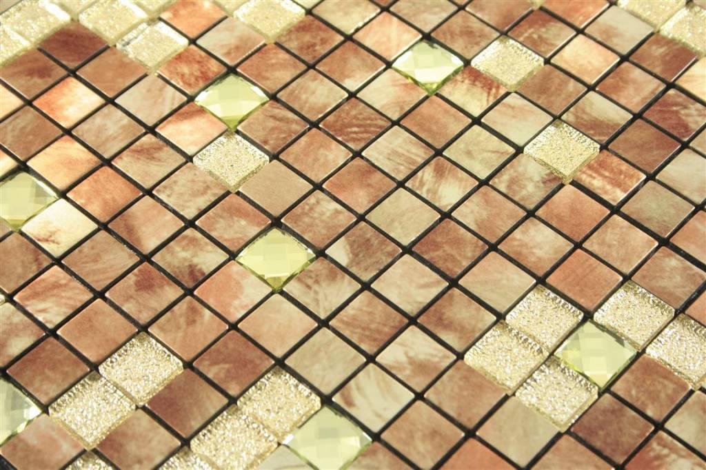 SELBSTKLEBENDE MOSAIKFLIESEN Kemet Braun Gold Glitzer - Mosaik fliesen braun gold
