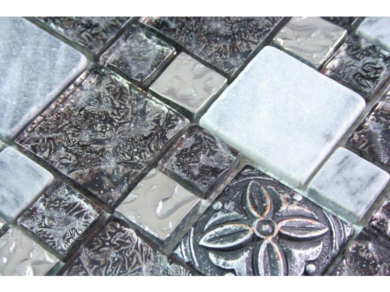 MOSAIKFLIESEN - Nyala - Glas / Keramik / Stein - grau / silber