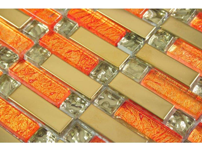 MOSAIKFLIESEN - Shanghai - Glas / Edelstahl - orange / gold - Mosaic ...