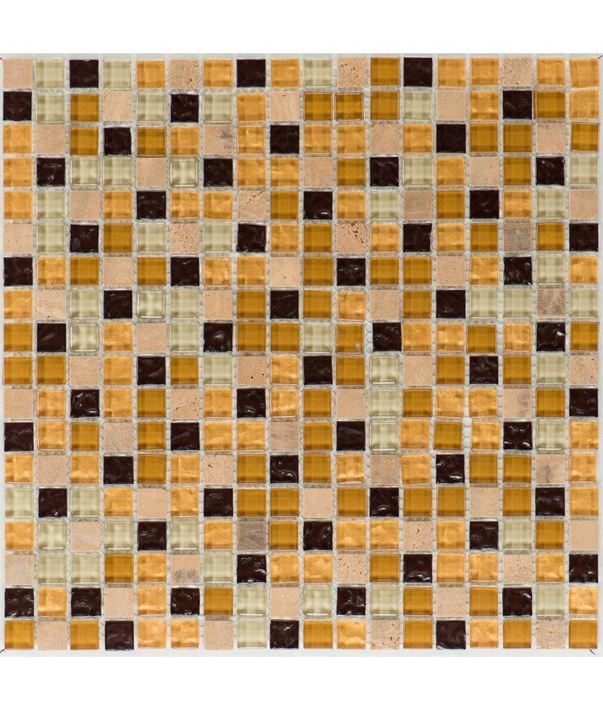 Mosaik Glas & Naturstein Venezia Gold Beige Braun - 30 cm x 30 cm