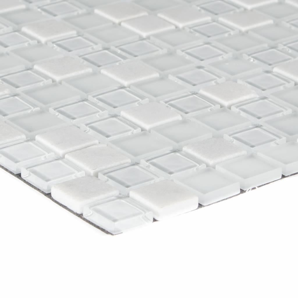 Mosaik Glas Naturstein Smart White Selbstklebend 30 Cm X 30 Cm