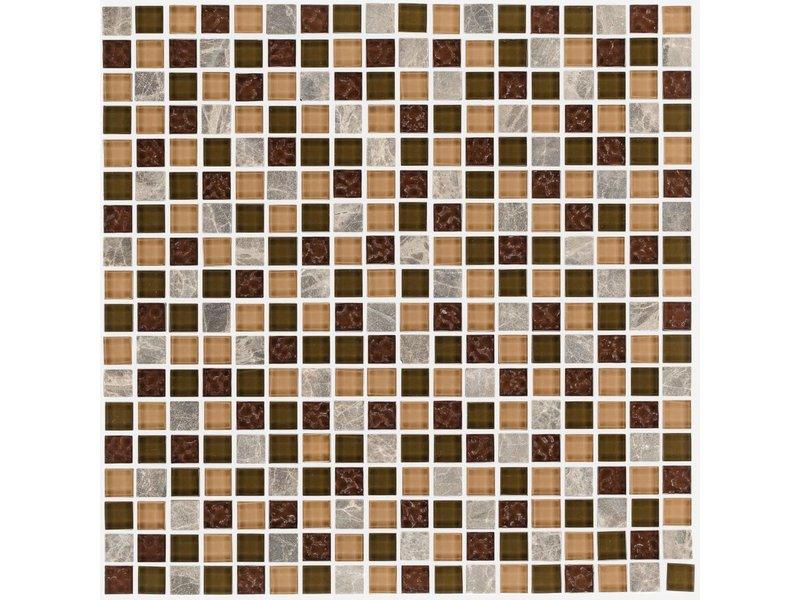 Mosaik Glas Naturstein Smart Brown Selbstklebend 30 Cm X 30 Cm