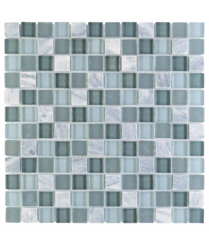Mosaik Glas & Marmor Canaria Grau - 30 cm x 30 cm