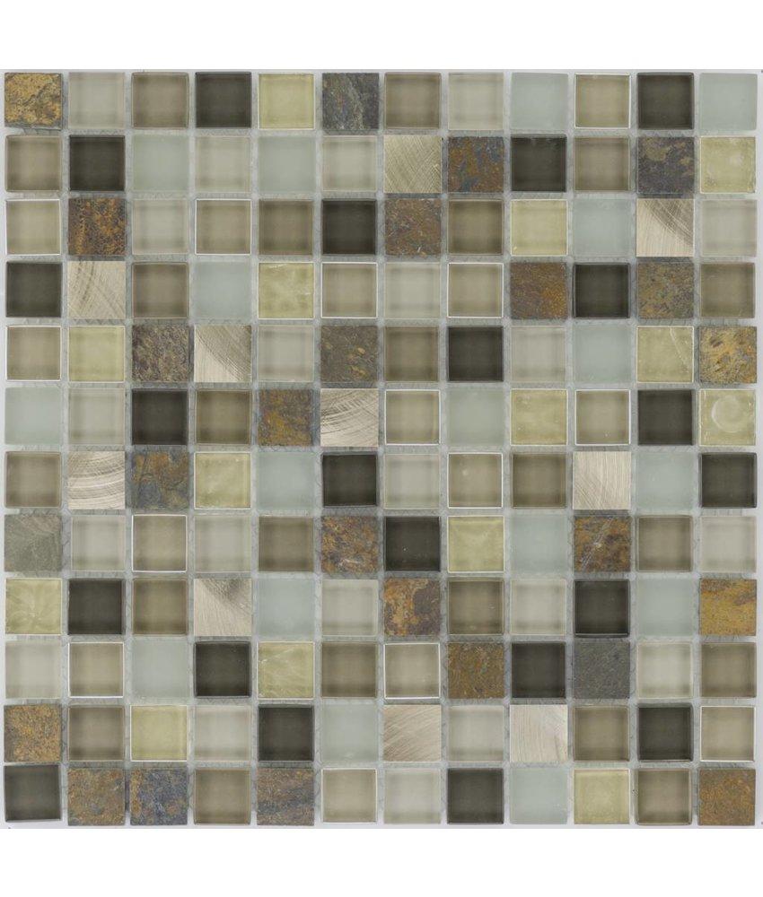 Mosaik Glas & Naturstein & Edelstahl Multicolor - 30 cm x 30 cm