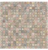 Mosaik Glas & Naturstein & Edelstahl Multicolor Perlmutt - 30 cm x 30 cm