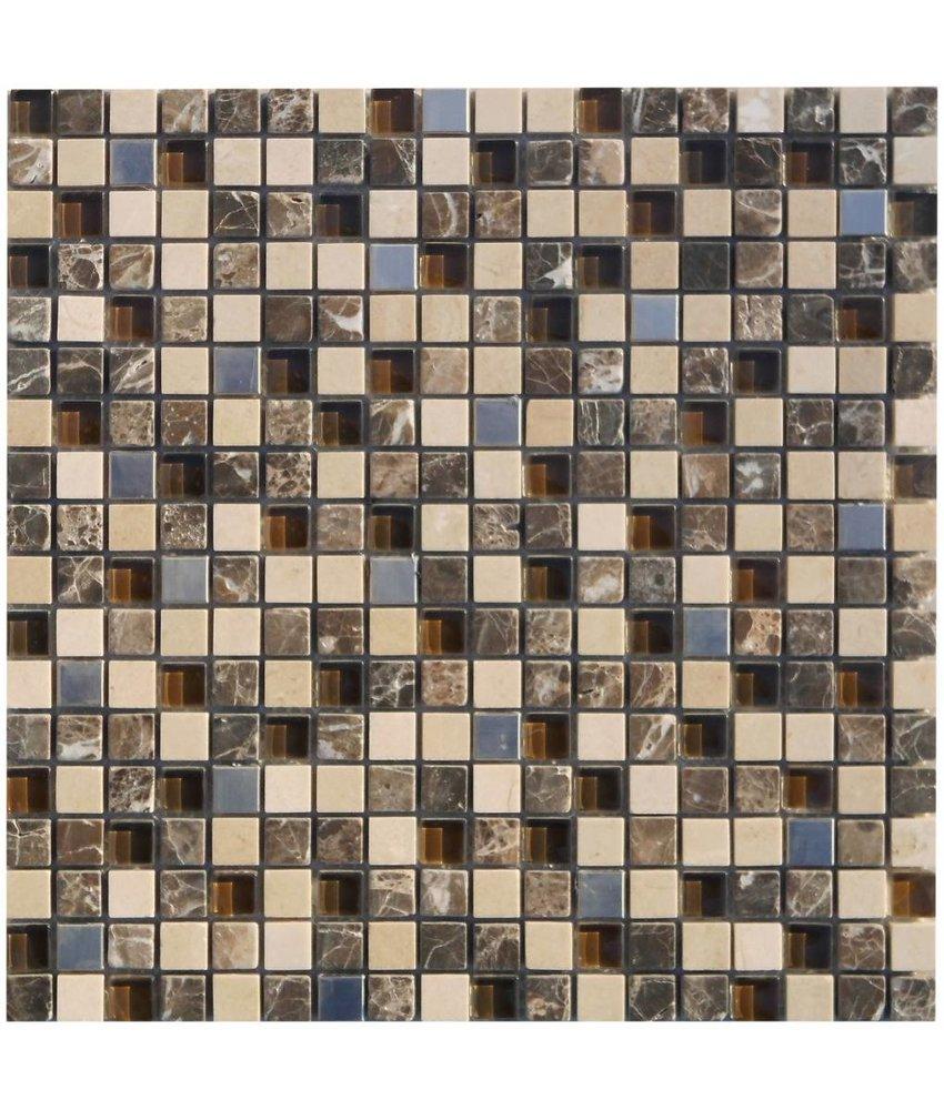 Mosaik Glas & Naturstein & Edelstahl Mauritius - 30 cm x 30 cm
