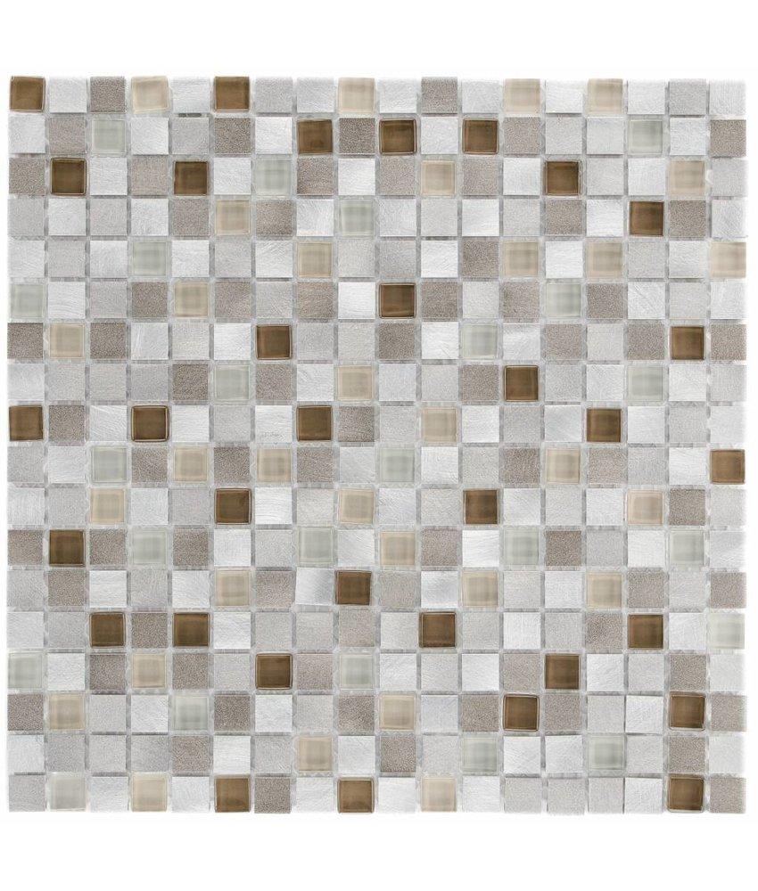 Mosaik Glas & Aluminium Cosmos Earth - 28,5 cm x 28,5 cm