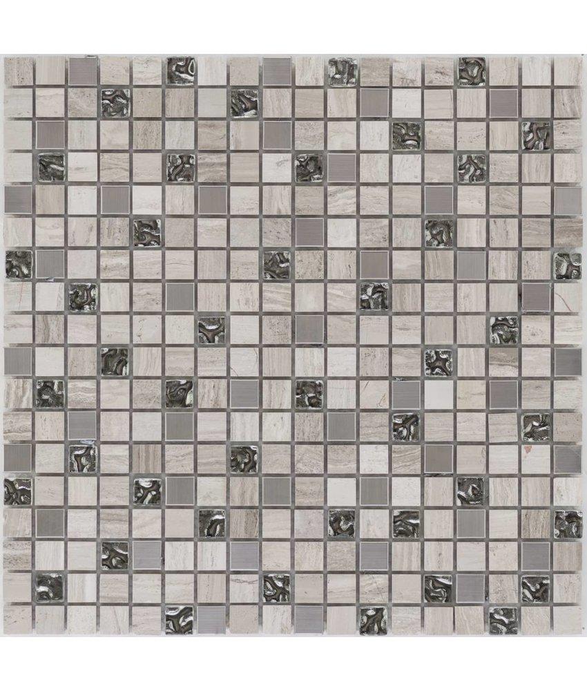 Mosaik Glas & Marmor & Edelstahl Grau - 30 cm x 30 cm