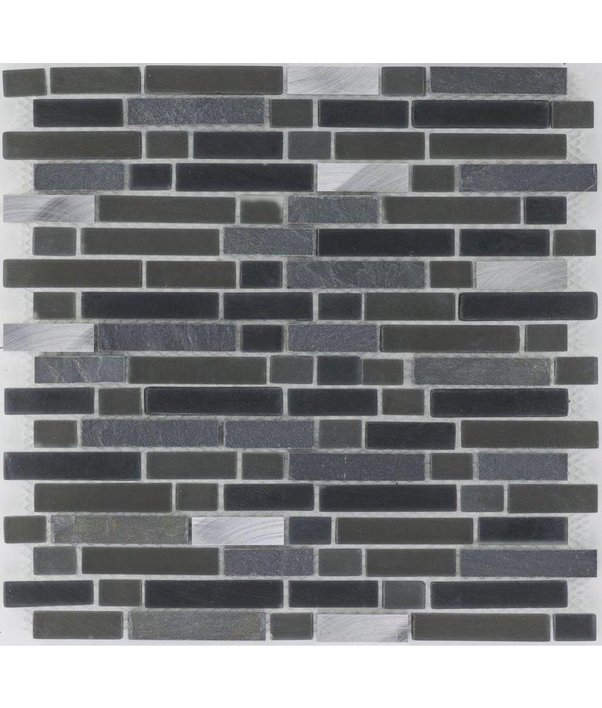 Mosaik Glas & Naturstein & Edelstahl Schwarz Graphit - 30,6 cm x 31,6 cm