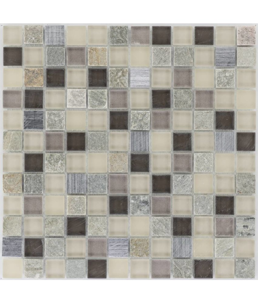 Mosaik Glas & Naturstein & Edelstahl Braun Beige - 30 cm x 30 cm