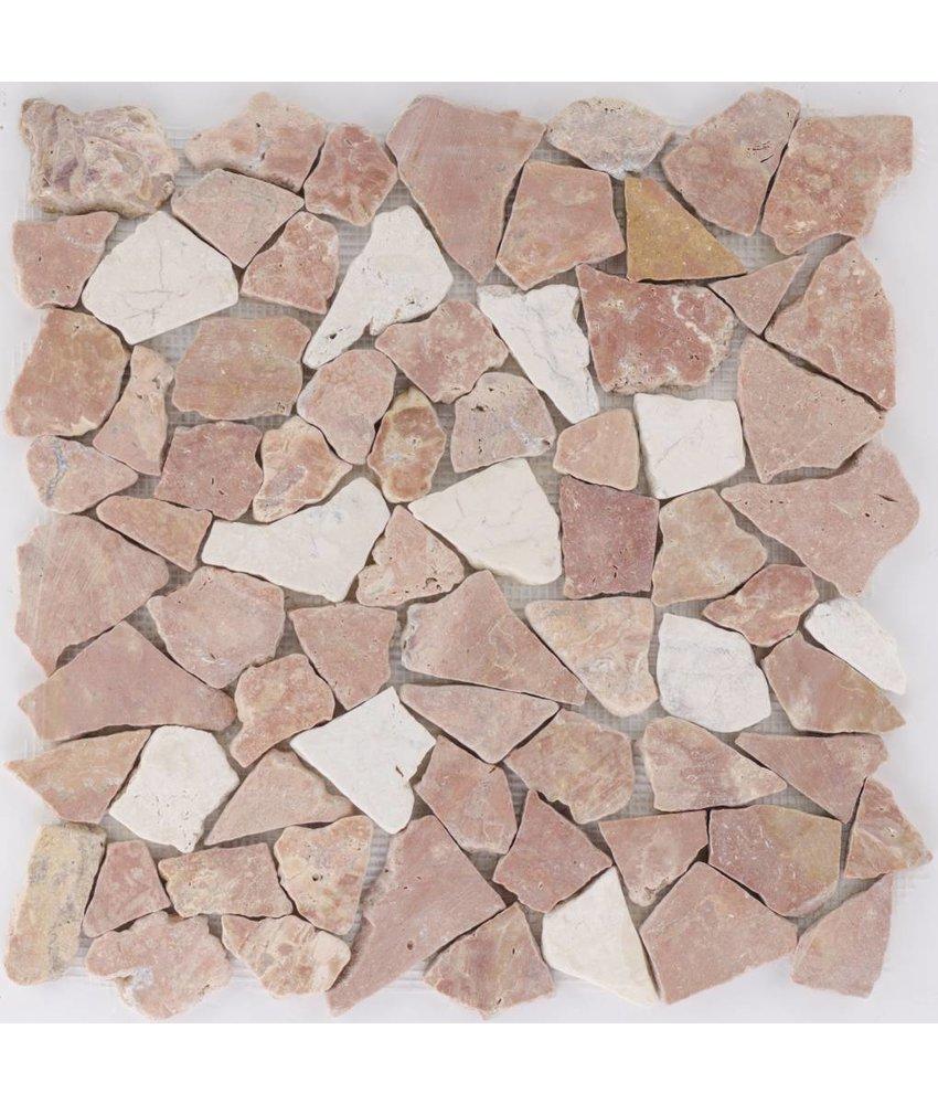 Polymosaikfliese Marmor Rosso Verona & Biancone - 30,5 cm x 30,5 cm