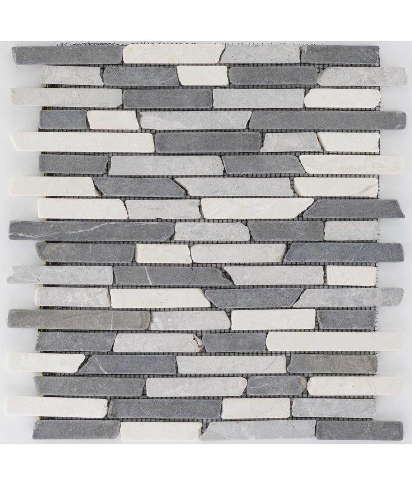 Mosaikfliese Marmor Schwarz Grau Weiß -  30,5 cm x 30,5 cm