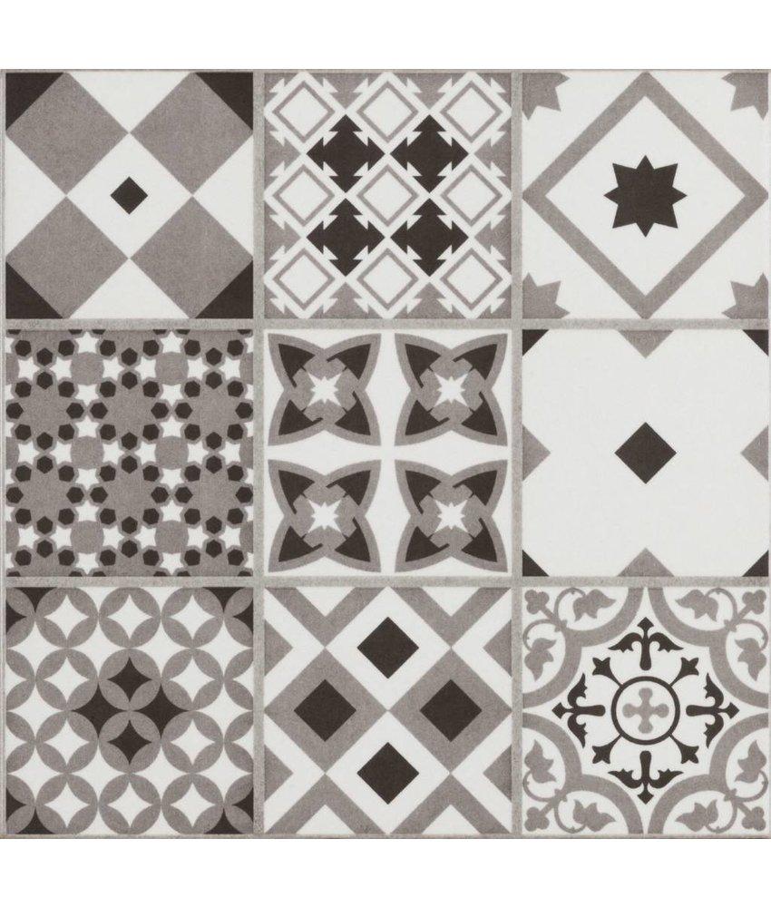 Bodenfliese Vintage Brügge Grau Mosaik - 22,3 cm x 22,3 cm