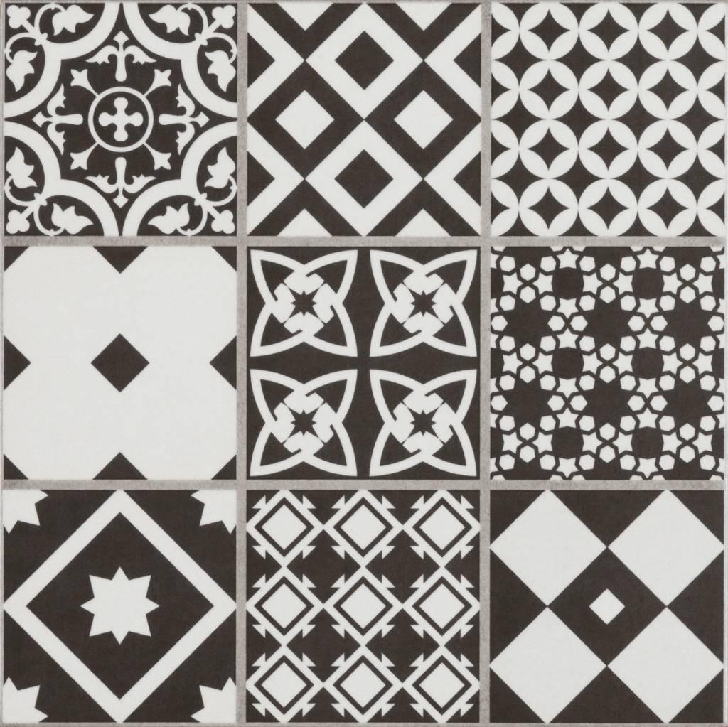 Bodenfliese Vintage Brugge Schwarz Mosaik 22 3 Cm X 22 3 Cm