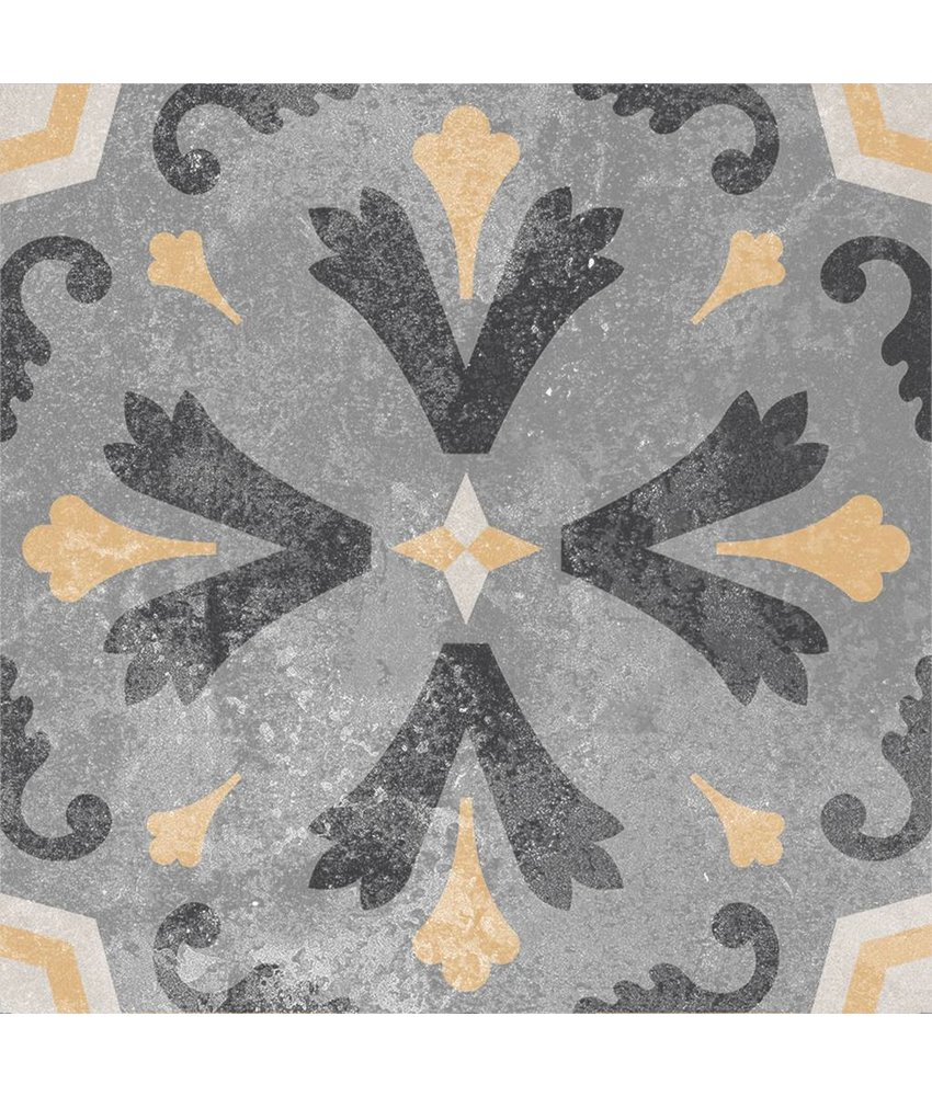 Bodenfliese Vintage Heidelberg Dekor 6 - 18,6 cm x 18,6 cm