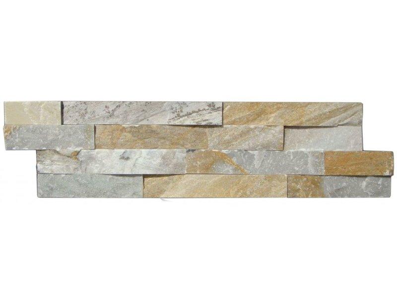 Wandverblender Naturstein Quarzit Beige Bunt - 15 cm x 60 cm