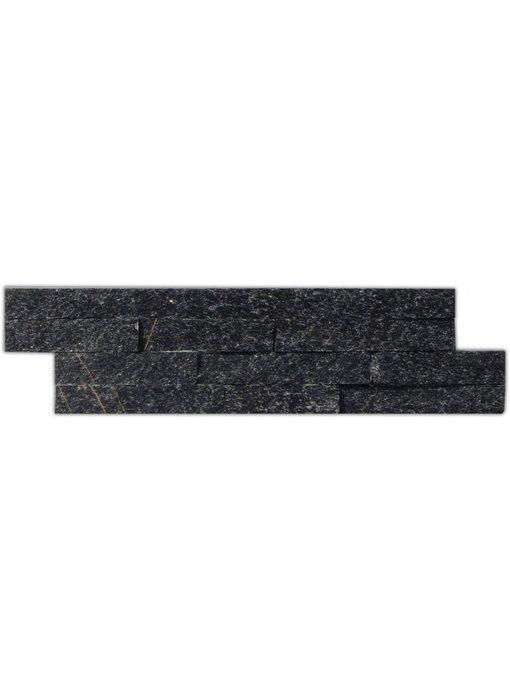 Wandverblender Naturstein Quarzit Schwarz - 10 cm x 40 cm