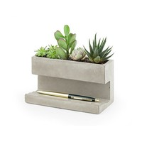 Kikkerland Kikkerland Pen holder with concrete planter L