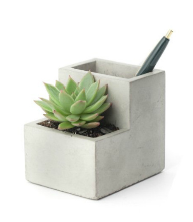 kikkerland porte stylo avec jardini re en b ton s florastore. Black Bedroom Furniture Sets. Home Design Ideas
