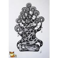 De verlichte boom tekening
