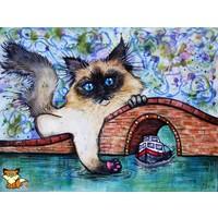 Aquarel van Siamese kat
