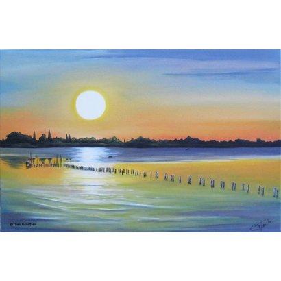 Avondrust over het meer - Theo Geurtsen