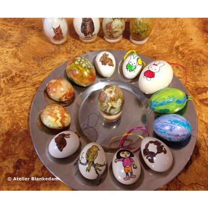 Beschilderde kippen/eendeneieren - Atelier Blankedam