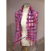 Sjaal van vilt en zijde in paars