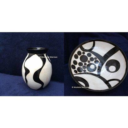 Zwart-witte vaas en schaal - Nicolette Stierman