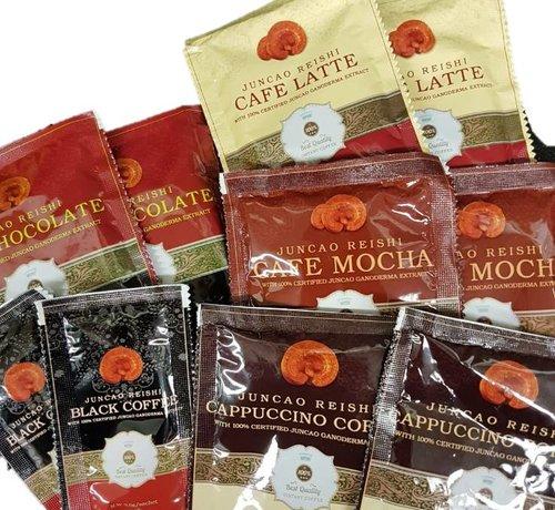 Wilt u de reishi koffie of hot chocolate ook proberen?