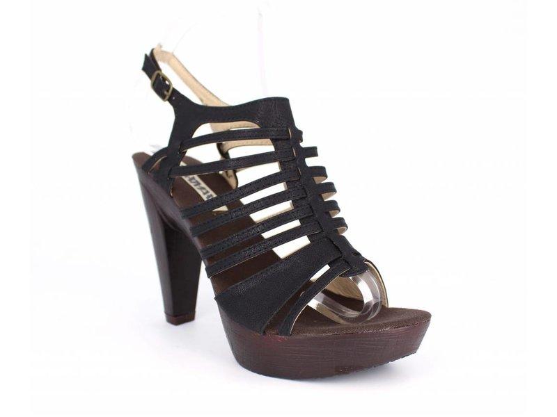 Zwarte dames sandaal met plateauzool