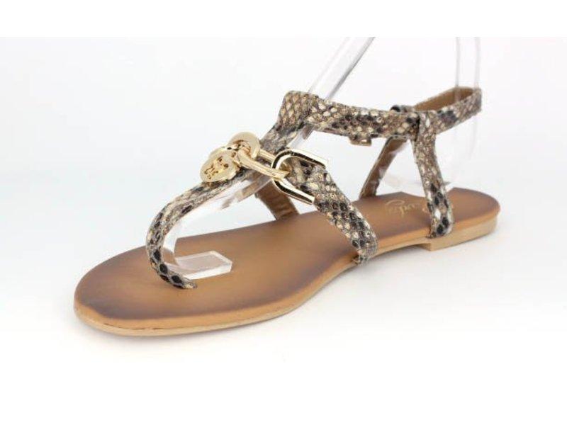 Pearlz Snake print sandaal Bohemain style met gouden details