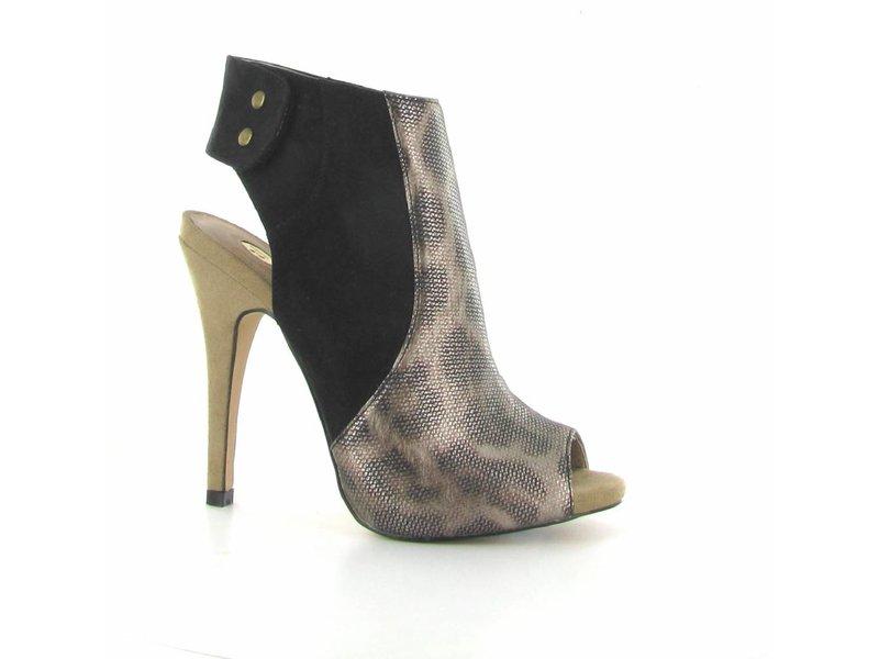 La Strada Luipaard/zwarte peeptoe pumps met hoge hak