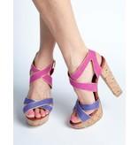 La Strada paars/ fuchsia dames sandaal met plateauzool