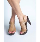 Camel dames sandaal met plateauzool