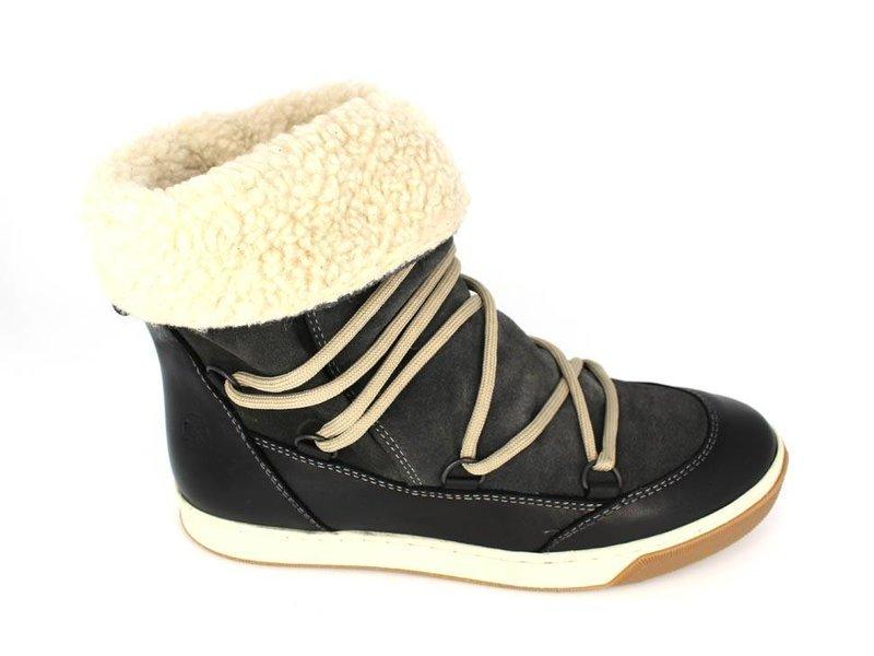 Post Xchange Hoge veter sneakers zwart/grijs met teddyvoering
