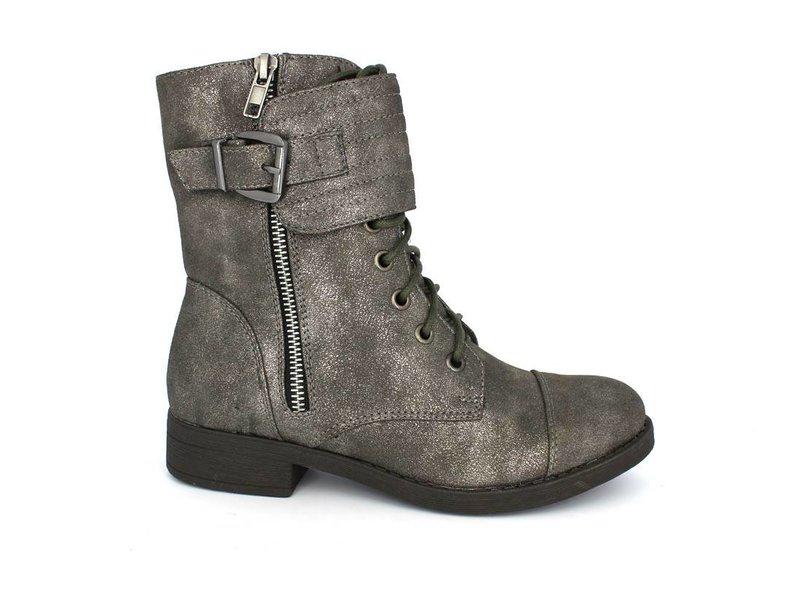 Pearlz stoere metallic look veter boots