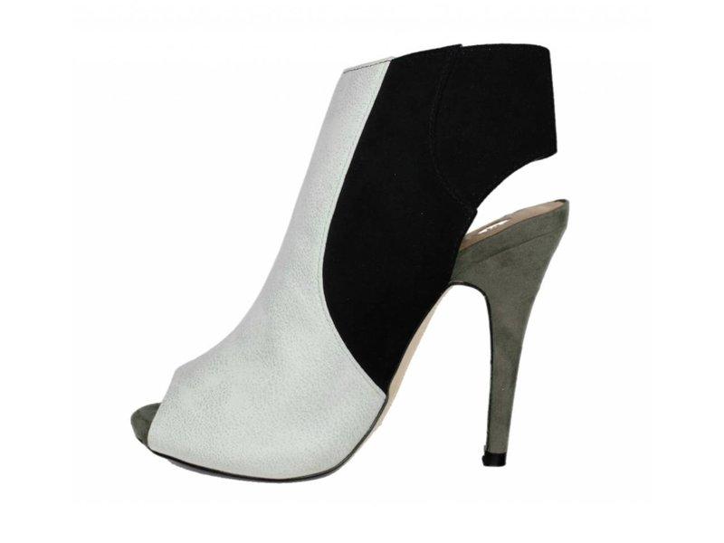 La Strada wit/zwarte peeptoe pumps met hoge hak