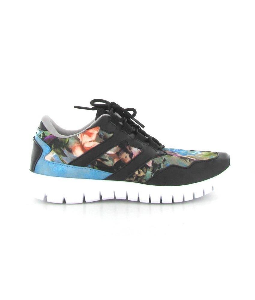 La Strada Zwarte sneaker met bloemen print